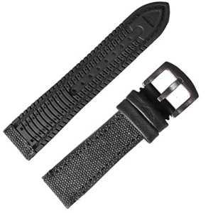 22mm noir vieilli sur toile en nylon Compound étanche en caoutchouc Bracelet de montre