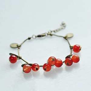InisIE Femmes Filles Thai Style rétro Rouge merise Bracelet Belle Bracelet Cadeau
