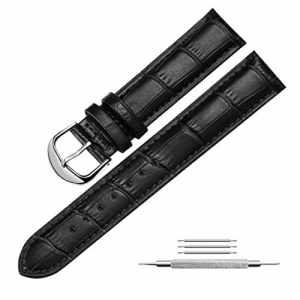 mysunny Cuir Véritable Bracelet de Montre Watch Strap Pour Homme Femme Remplacement Les Montres Haut de Gamme, Les Montres de Mode, (Noir 26mm)
