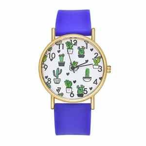 Godagoda Unisex Montre Bracelet Quartz Analog Silicone Cadran Motif Cactus Fille Cadeau Noël Anniversaire