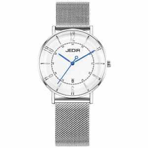 JEDIR Femme montres-bracelet à quartz classique Montre à grand cadran Pointeurs bleus