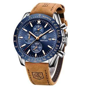 BY BENYAR Montre chronographe pour Homme Mouvement à Quartz Montre de Sport d'affaires de Mode 30M étanche et Anti-Rayures Cadeau élégant