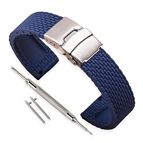 Vinband Bracelet Montre Haute Qualité Remplacer Silicone Bracelet Montre Homme Femme Noir – 18mm, 20mm, 22mm, 24mm Caoutchouc Montre Bracelet avec Quick Release Pins & Boucle Déployante (24mm, bleu)