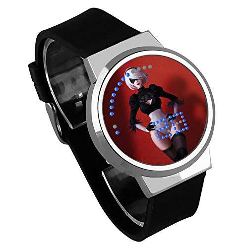 Anime, Nier: série de Jeux Automata, écran Tactile LED Montre Lumineuse numérique étanche Quartz Gel de silice Sangle 3D Mode garçon Fille Cadeau-Noir et Blanc