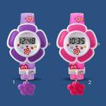 Belle Enfants Montres Fleur Mignon Enfants Montre Cartoon Silicone Numérique Montre-Bracelet Pour Garçons Filles Montres Relogio (Violet) – Rouge – taille unique