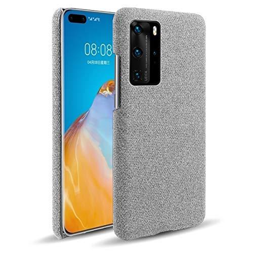 Oihxse Business Housse Case Compatible pour Huawei P Smart Plus 2019 Coque en Tissu Toile Full Protection Étui Ultra Mince Léger Anti-Slip Antichoc Antifouling Hybride Cover,Gris