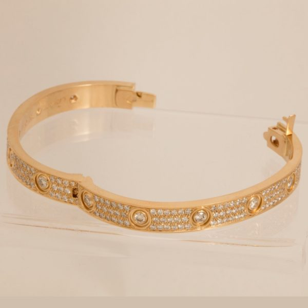 18k Gold Cartier Love Bracelet Diamond Paved Size 16     Montreal Pawn   57  2