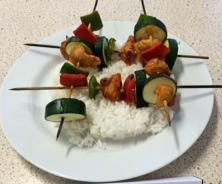Home Economics plated food skewers