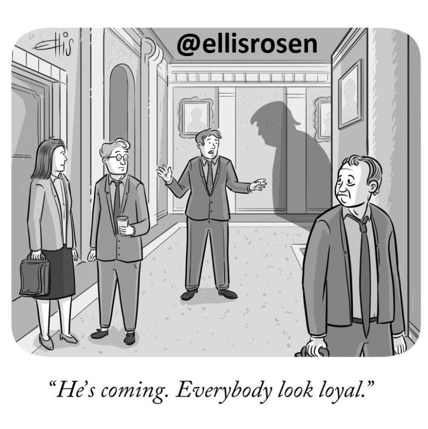 "Trump-like shadow around the corner. ""He's coming. Everybody look loyal"""