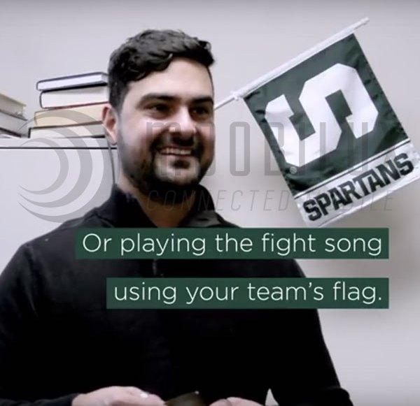 MSU student makes flag to loudspeaker