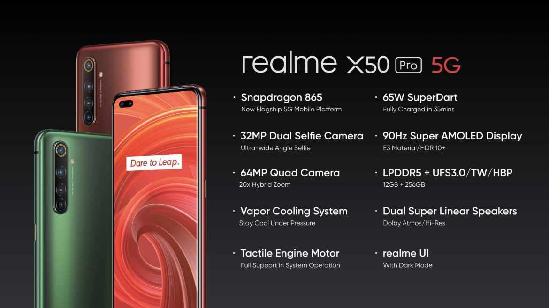 Die Facts des Realme X50 Pro 5G. (Bild: Realme)
