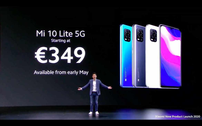 Das Xiaomi Mi 10 Lite mit 5G kommt für 349,- Euro auf den Markt. (Bild: Screenshot)