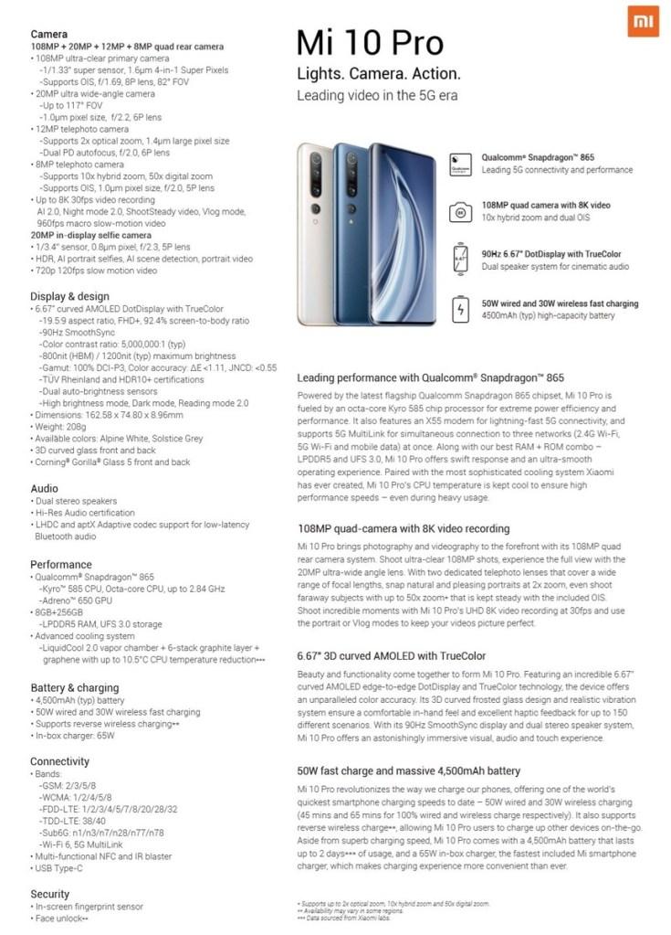 Xiaomi Mi 10 Pro Specs