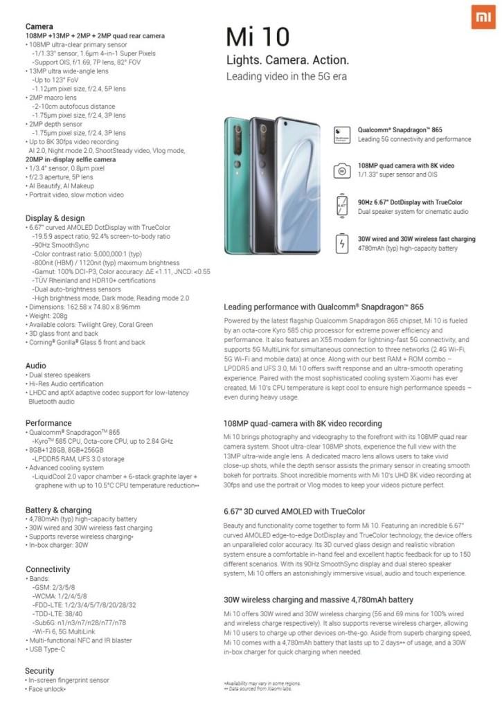 Xiaomi Mi 10 Specs