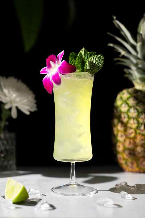 Missionary's Downfall (Rum Cocktail with Pineapple, Peach, and Mint)