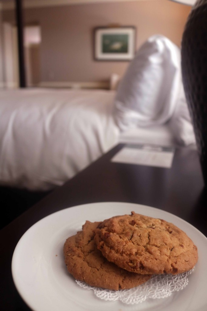 Fresh baked cookies left bedside at the Red Fox Inn in Middleburg, Virginia.