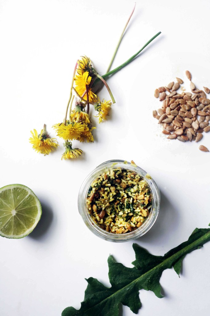 Wildcrafted spring pesto with dandelion leaves, lime, sunflower seeds and olive oil.