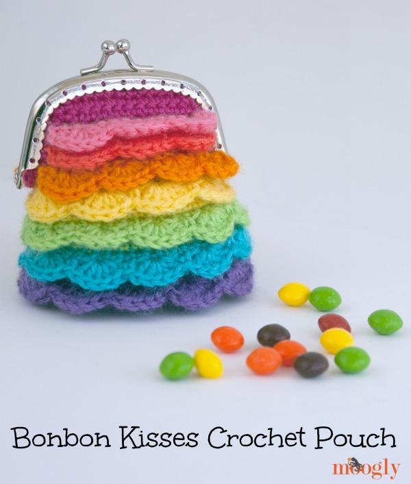 Bonbon Kisses Crochet Pouch! Free #crochet pattern from Mooglyblog.com
