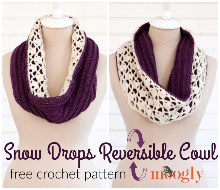 Snow Drops Reversible Cowl - FREE crochet pattern on Mooglyblog.com!