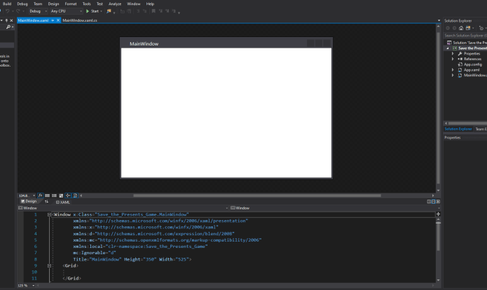 mooict wpf c# save the presents game - default window layout in visual studio