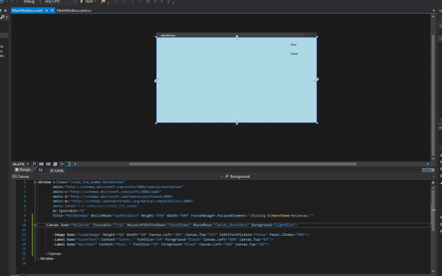 mooict wpf c# sniper the dummy game updated view after xaml code change