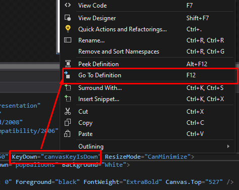 mooict wpf tutorial - right click and then go to definitions options in visual studio