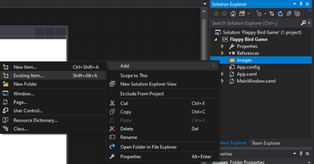 mooict flappy bird wpf c# tutorial - add existing items to the new images folder created