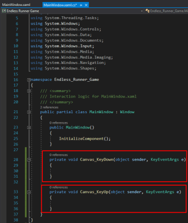 wpf c# parallax endless runner game tutorial typing the events in c# programming language