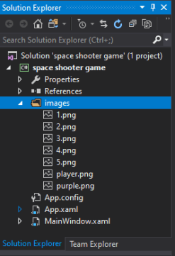 c# wpf space shooter tutorial images added to the images folder in the solutions explorer