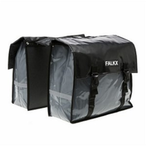 Falkx dubbele fietstas Bisonyl grijs-zwart-0096