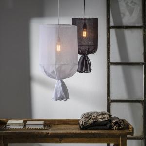 Lampe à suspension ronde en lin