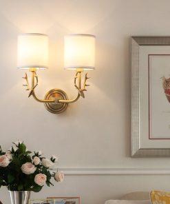 Brass Deer Head Wall Light