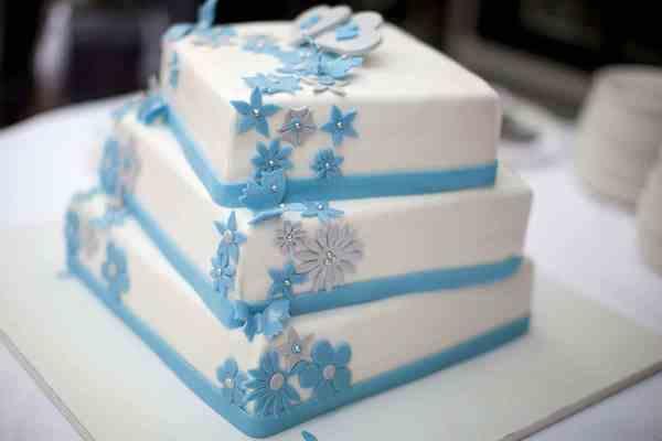bruidstaart blauw trouwreportage receptie bruiloft trouwen