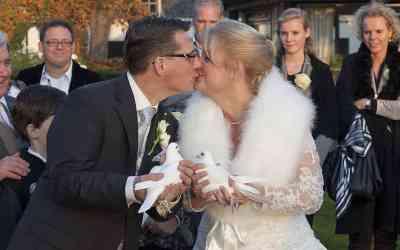 Duiven loslaten op de bruiloft