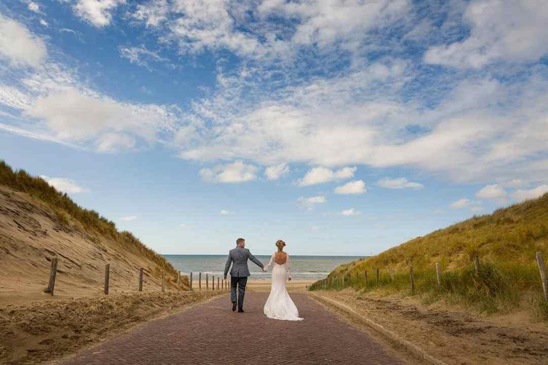 bruidsfoto bruidspaar Noordwijk