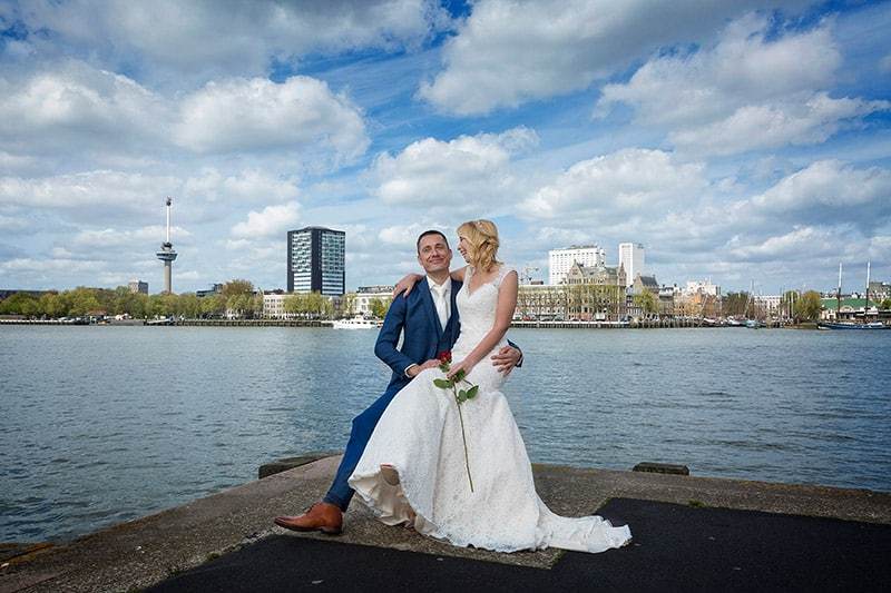 lange fotoshoot Rotterdam trouwdag