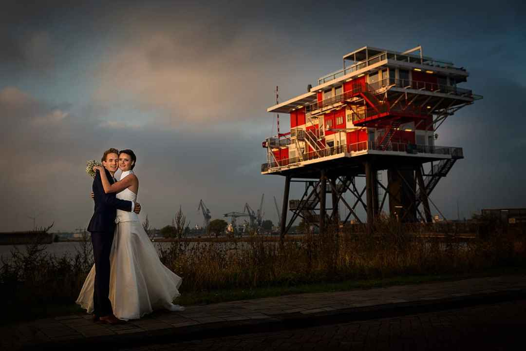 trouwfoto bruidspaar REM eiland