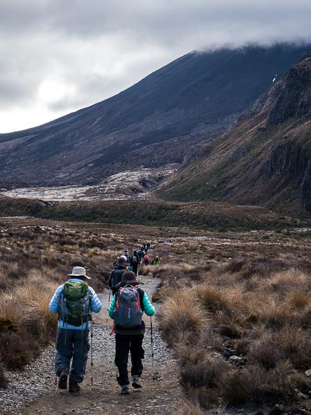 Het begin van de Tongariro Alpine Crossing, bij Mangatepopo Road
