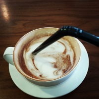 hot chocolate through a straw