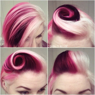 Diablo Rose raspberry ripple hair