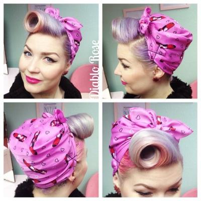 Diablo Rose vintage headscarf