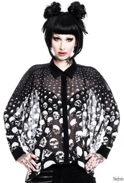 Nosferatu gothic clothing Killstar skull shirt