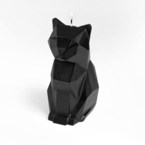 black cat witch halloween candle