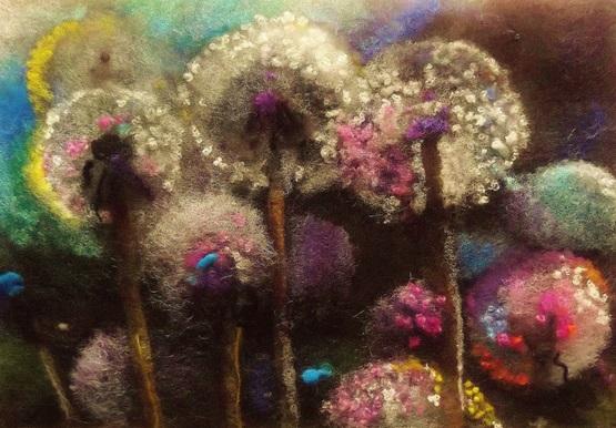 Wool Art Dandelion Clocks