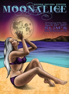 M955 › 4/20/17 420 Gathering of the Tribe, Slim's, San Francisco, CA poster by Lauren Yurkovich with Doobie Decibel System