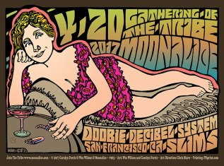 M963 › 4/20/17 420 Gathering of the Tribe, Slim's, San Francisco, CA poster by Carolyn Ferris & Wes Wilson with Doobie Decibel System