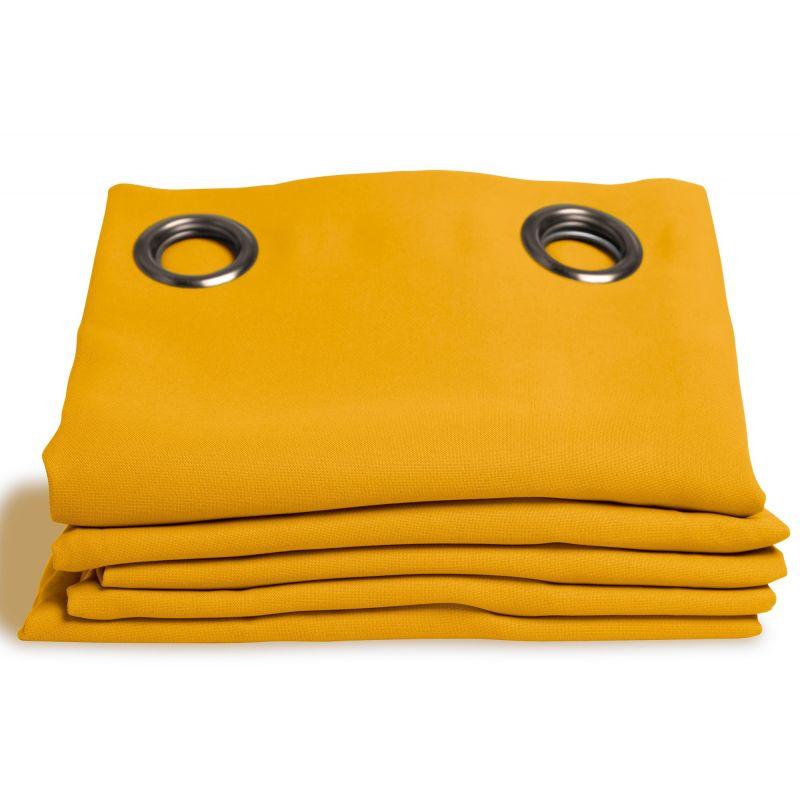 rideau occultant aspect pique coton jaune mais rideaux moondream