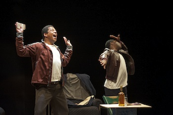Nigel Shawn Williams and Kevin Hanchard in Topdog/Underdog. Photo by Emily Cooper