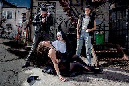 The cast of Kill, Sister, Kill: Stefne Mercedes, Nicola Atkinson, Luke Slade and Jamieson Child