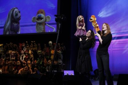 Julianne Buescher and Colleen Smith in Puppet Up Photo by Carol Rosegg